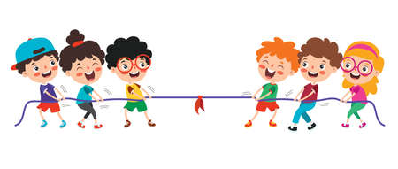 Funny Kids Playing Pulling Rope