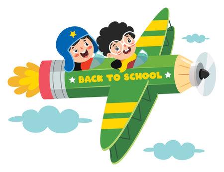 Funny Kid Flying On Colorful Pencil Vektorové ilustrace