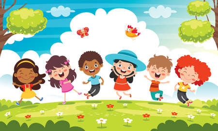 Happy Multi Ethnic Kids Playing Together