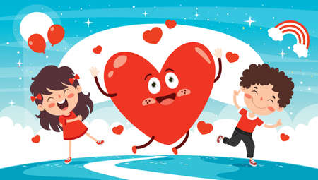 Love Concept With Cartoon Character 向量圖像