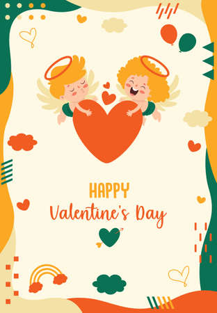 Valentine's Day Greeting Card Design With Cartoon Character 向量圖像