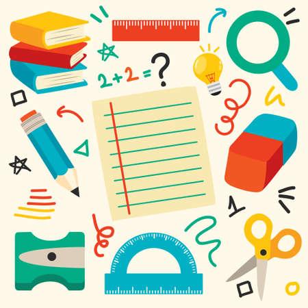 School Supplies For Children Education Vektorgrafik