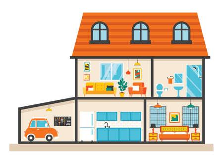 House Rooms With Flat Furnitures Vektoros illusztráció
