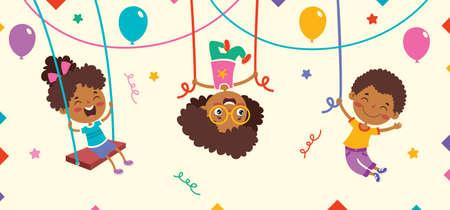 Cartoon Drawing Of Happy Character Swinging Vetores