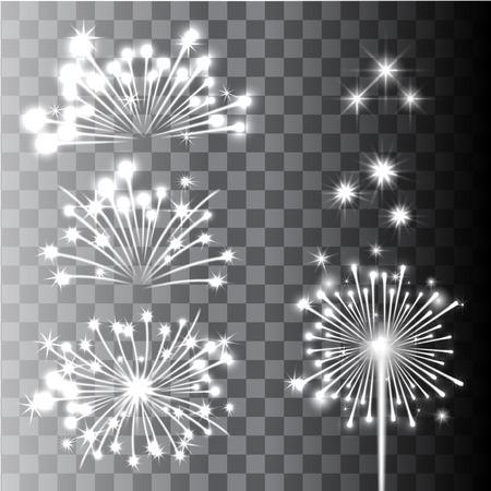fireworks background: Fireworks Collection in transparent background. Vector Illustration