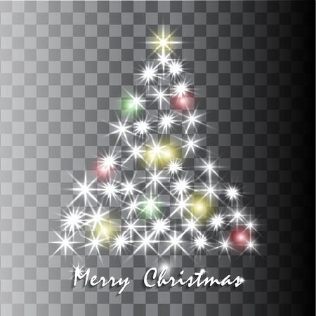 fondo transparente: Luminoso �rbol de Navidad en fondo transparente. Ilustraci�n vectorial