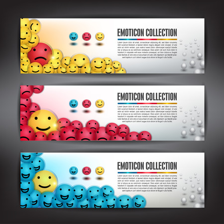 Banner Different emotion ball or Smiley Icon, Can use for icon, banner and background Vector