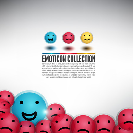 Happy Ball among of balls with different emotion. Smiley Icon, Can use for icon, banner and background Vector
