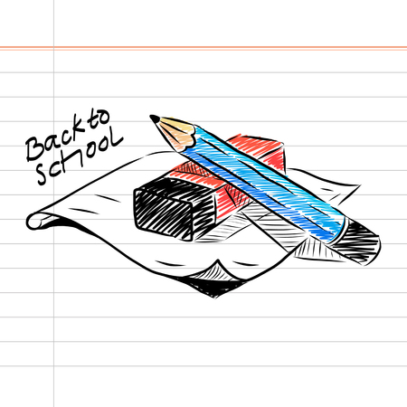 Hand drawn Back to School with Pencil and Eraser Illustration  イラスト・ベクター素材