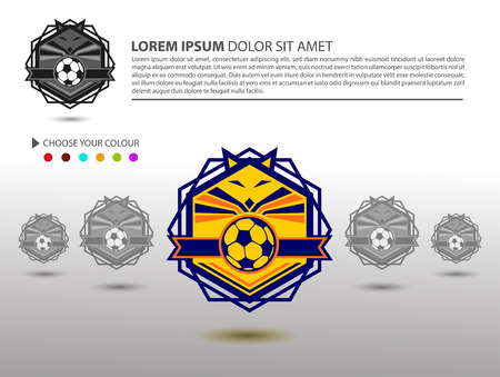 collegiate: Soccer Football Badge  Design Template Sport Team Identity isolated on White Background Soccer Theme T Shirt and Website TemplateVector Illustration