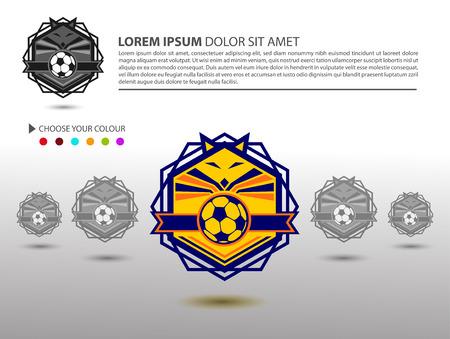 collegiate: Soccer Football Badge  Design Template Sport Team Identity isolated on White Background Soccer Theme T Shirt and Website TemplateVector Illustration
