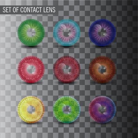 transparent cornea: Contact Lens in Transparent Background. Vector Collection.