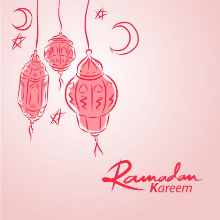 手绘阿拉伯灯笼矢量插图背景的穆斯林社区圣月斋月卡里姆