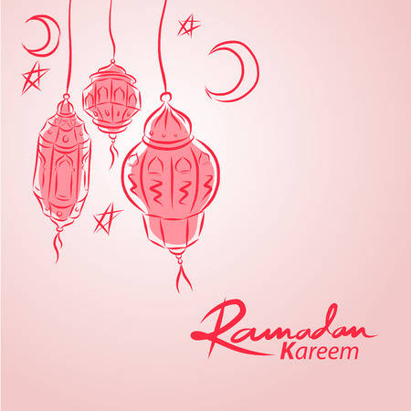 Hand drawn arabic lanterns vector illustration background for muslim community holy month Ramadan Kareem Illustration