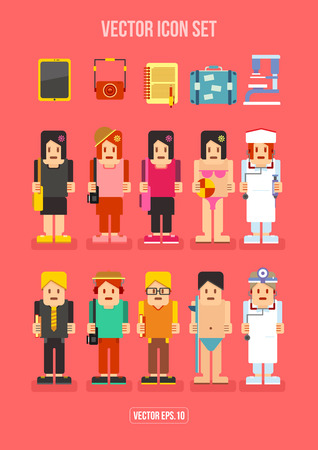 hobby: People Profession and Hobby Flat Icon Illustration