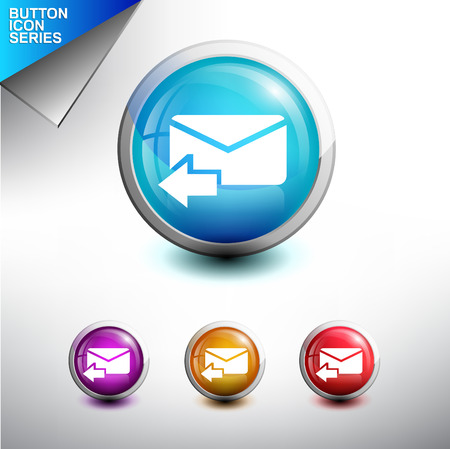 Email Send Icon. Glossy Button Icon Set