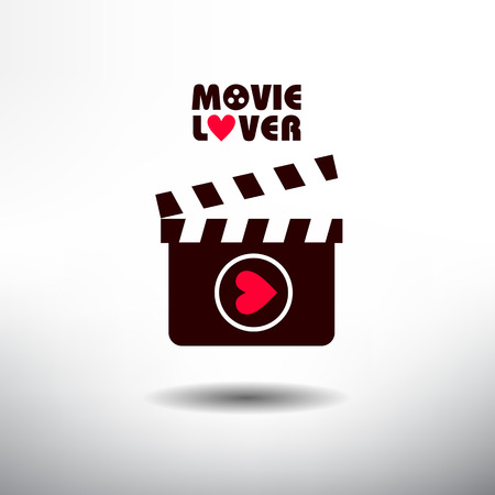 video reel: Clapperboard icon. Movie Lover Series Icon Illustration