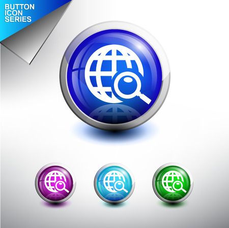 discovery: Search and Discovery Icon. Glossy Button Icon Set. Vector Illustration Illustration