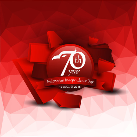 Indonesian Independence Day Logo with Geometric Background. Vector illustration concept Illustration
