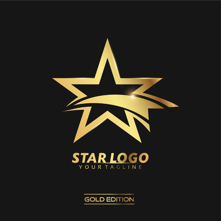 Gold Star logo vector Illustration Template Stock Photo
