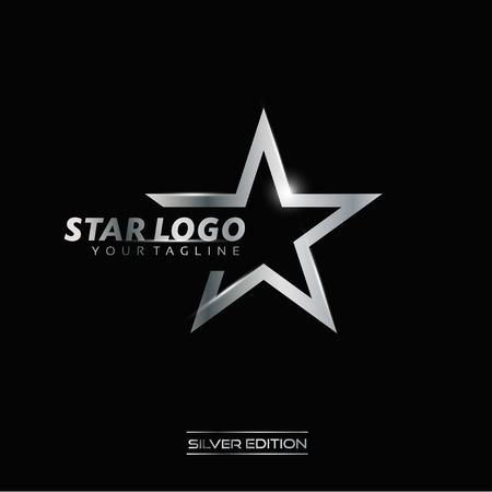 Silver Star Logo Vector Stock Photo