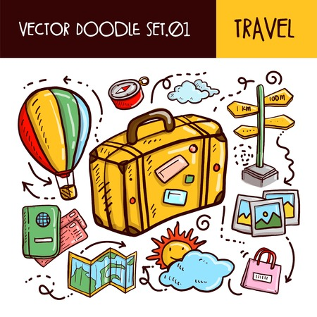 Travel Doodles Icon. Vector Illustration Set Illustration