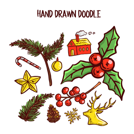 Christmas Doodle art Set. Vector Illustration Vettoriali