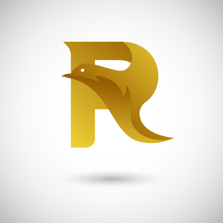 Letter R With Dove Concept. Creative and Elegant  design Template. 일러스트