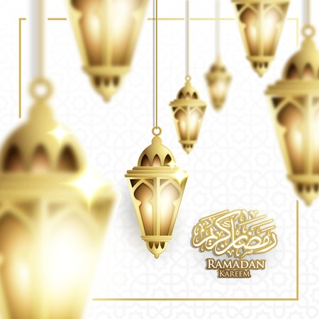 Hanging Ramadan Lantern or Fanoos Lantern & Crescent moon Background in Blurry Concept. For Web banner, greeting card & Promotion template in Ramadan Holidays 2019. Vector Illustration.  イラスト・ベクター素材