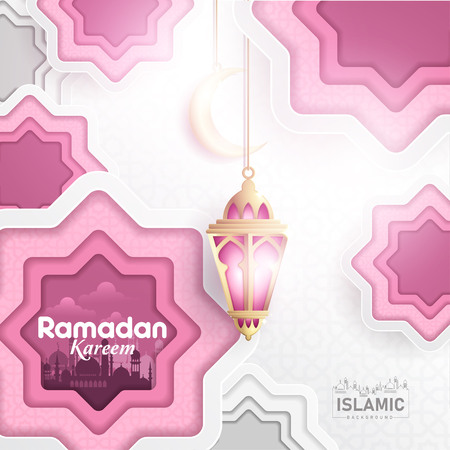Ramadan Kareem Background paper art or paper cut style with Fanoos lantern, Crescent moon & Mosque Background. For Web banner, greeting card & Promotion template in Ramadan Holidays 2019.