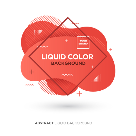 Abstract Liquid Living Coral Color Banner with line Frame and Brand Placing Logo Illusztráció
