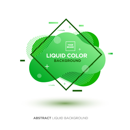 Abstract Liquid Green Color Banner with line Frame and Brand Placing Logo