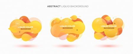 Modern abstract Liquid vector banner set. Flat geometric liquid form with gradient colors & memphis design element. Modern vector template, template for the design of a logo, flyer or presentation. Foto de archivo - 121251227