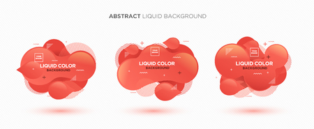 Modern abstract Liquid vector banner set. Flat geometric liquid form with gradient colors & memphis design element. Modern vector template, template for the design of a logo, flyer or presentation. Иллюстрация