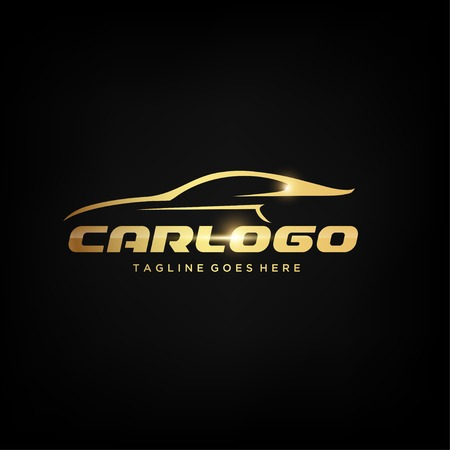 Gold Car Logo design or Vector of Car Silhouette 向量圖像