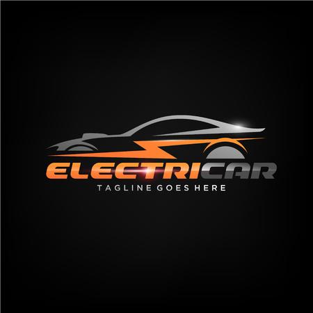 Diseño de logotipo de coche eléctrico o vector de silueta de coche