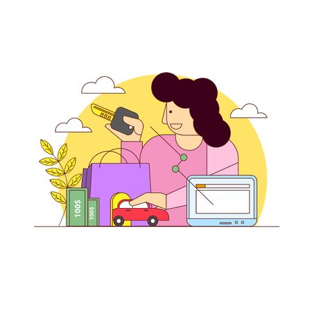 Online Ecommerce Shop Vector Illustration Concept Showing Female buy Car at Ecommerce shop, Suitable for landing page, ui, web, App intro card, editorial, flyer, and banner. Illustration