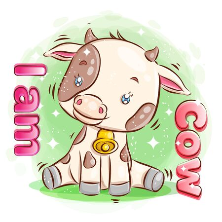 Cute Cow Sit on the Ground with Happy Smile. Cartoon Illustration. Vector eps.10