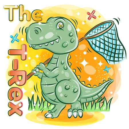 Cute T-rex hold a Butterfly Net on The Garden.Colorful Cartoon Illustration. Vector eps.10