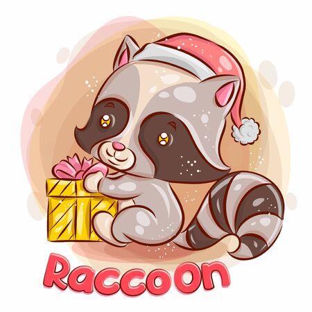 Cute Raccoon Have a Christmas Gift.Colorful Cartoon Illustration. Vector eps.10