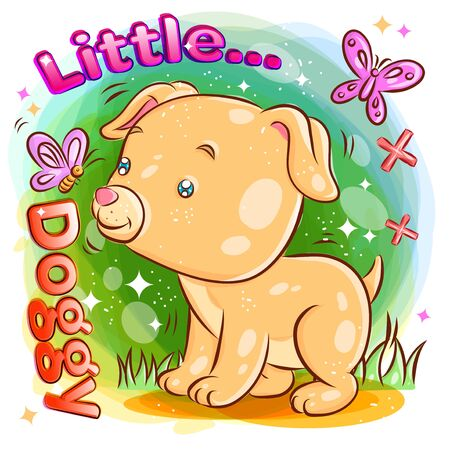 Cute Dog playing with Butterfly on the Garden.Colorful Cartoon Illustration. Vector eps.10
