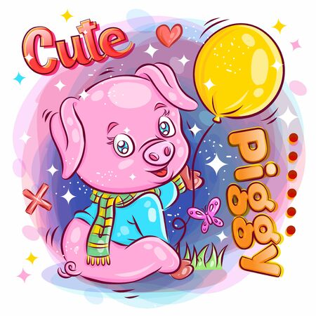Cute Pig hold and Play Balloon.Colorful Cartoon Illustration. Vector eps.10