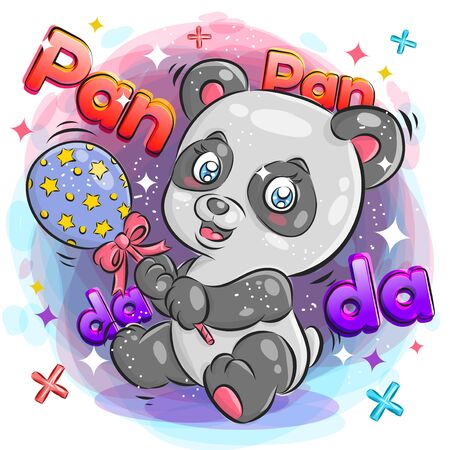 Cute Panda Playing Toys with Cheerful Expression.Colorful Cartoon Illustration. Vector eps.10