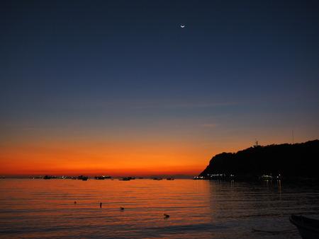 sunset sea boat