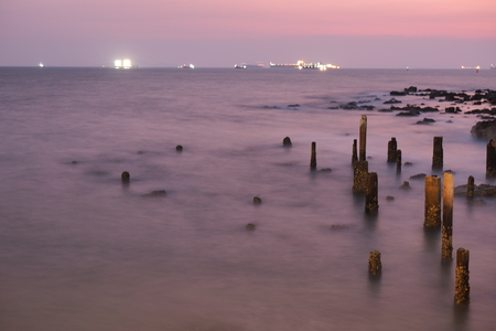 sea stone and sky night blur view