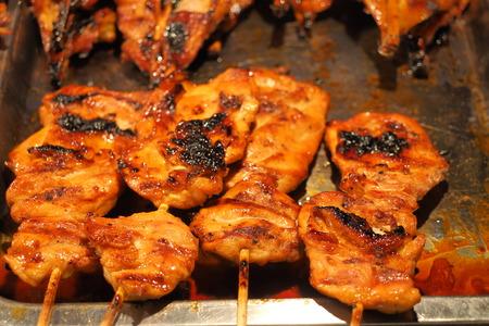 Grilled chicken burns food blur