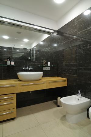 basic scheme: Interior of modern bathroom   Exclusive design Stock Photo