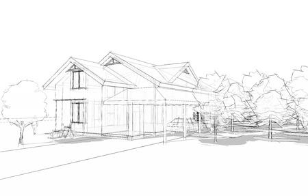 3D illustratie van een grote huis in blauwdruk stijl