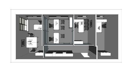 Stock Photo   The Modern Office Interior Design Sketch 3d Render