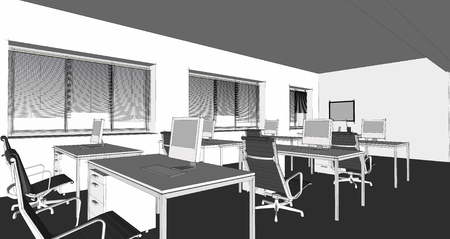 Interior Design Office Sketches the modern office interior design sketch 3d render stock photo